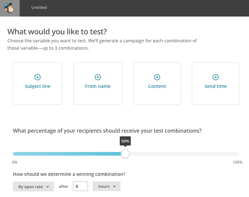 AB testing options in MailChimp