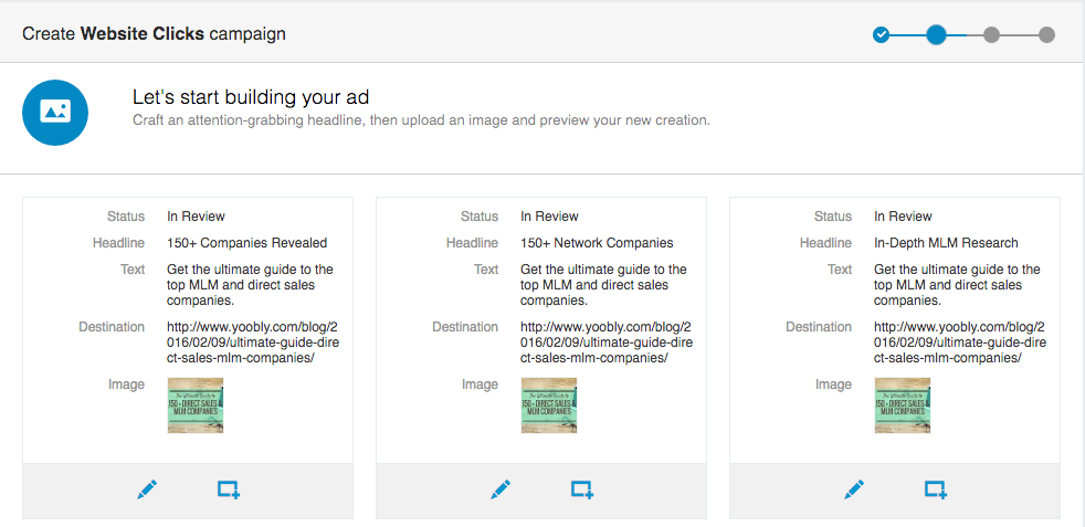 Building your LinkedIn ad variations