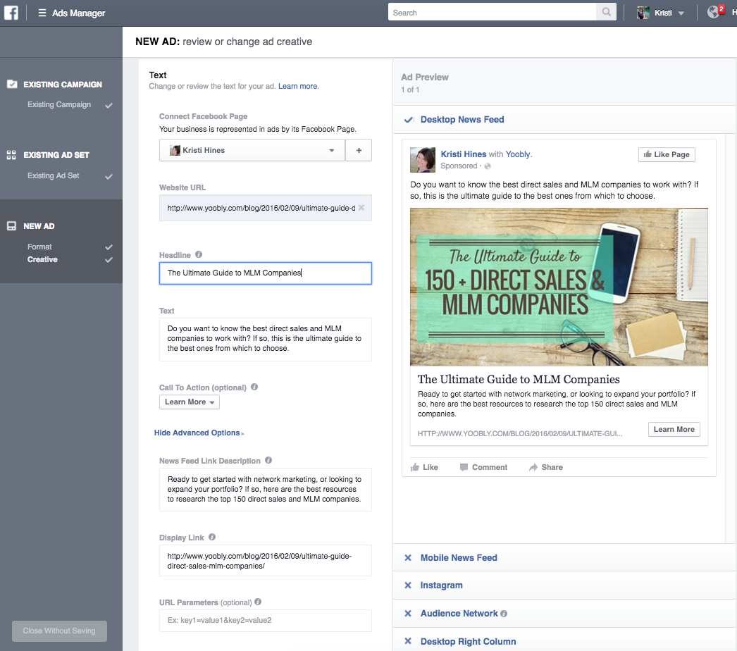 Change the element you want to test in your Facebook ad AB test