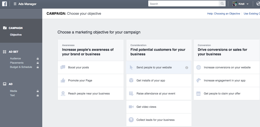 Choosing your ad objective in Facebook