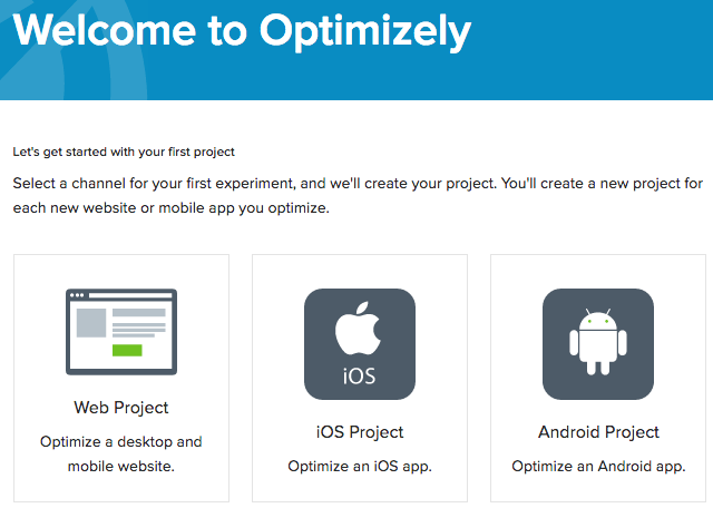 Create a project with Optimizely for free when you have fewer than 50,000 visitors a month