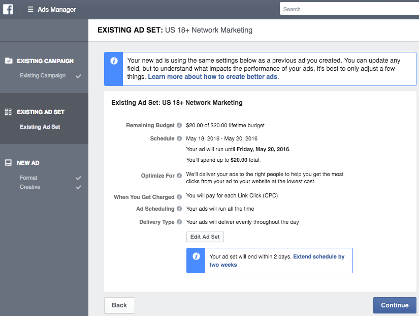 Modifying your Facebook ad set