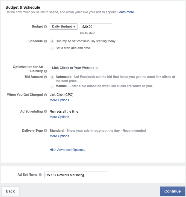 Your budget and schedule for your Facebook ad