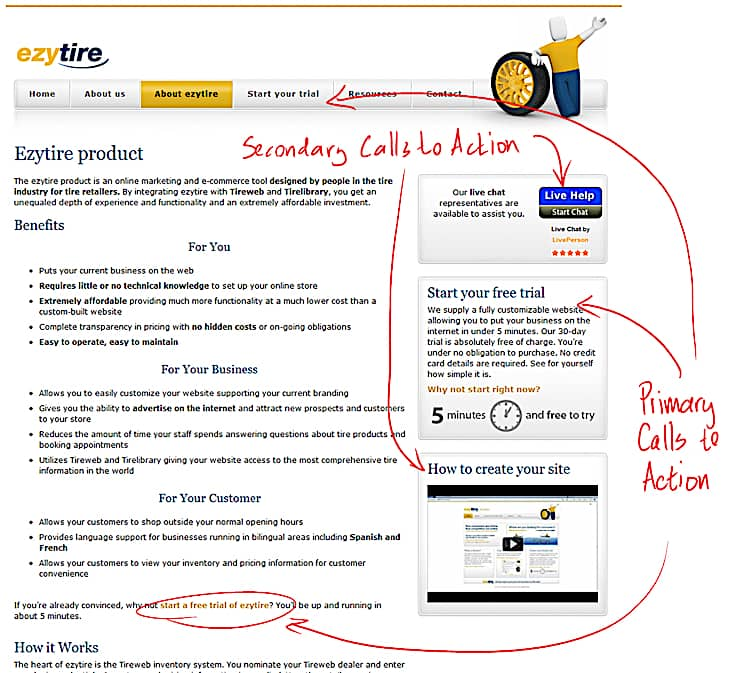 Landing page basics: ezytire about page with markup.
