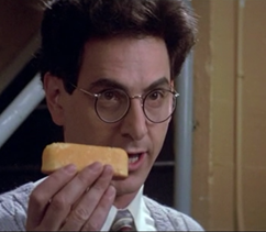 Ghostbuster holding a Twinkie