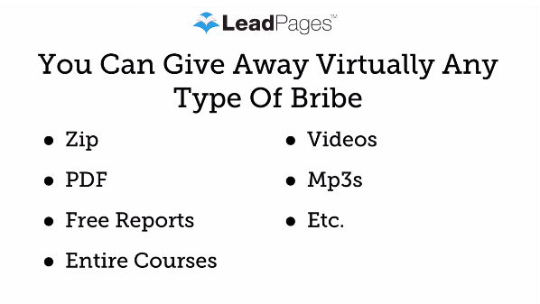 Leadpages Review: You can give away virtually any type of bribe: ZIP, PDF, Reports, Videos, Courses, MP3