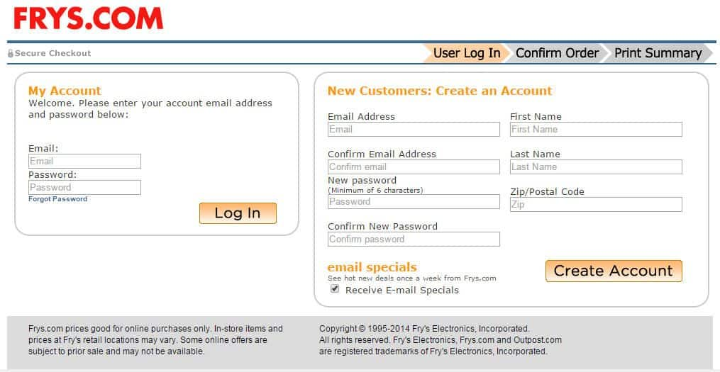 Frys requires visitors to confirm their email address