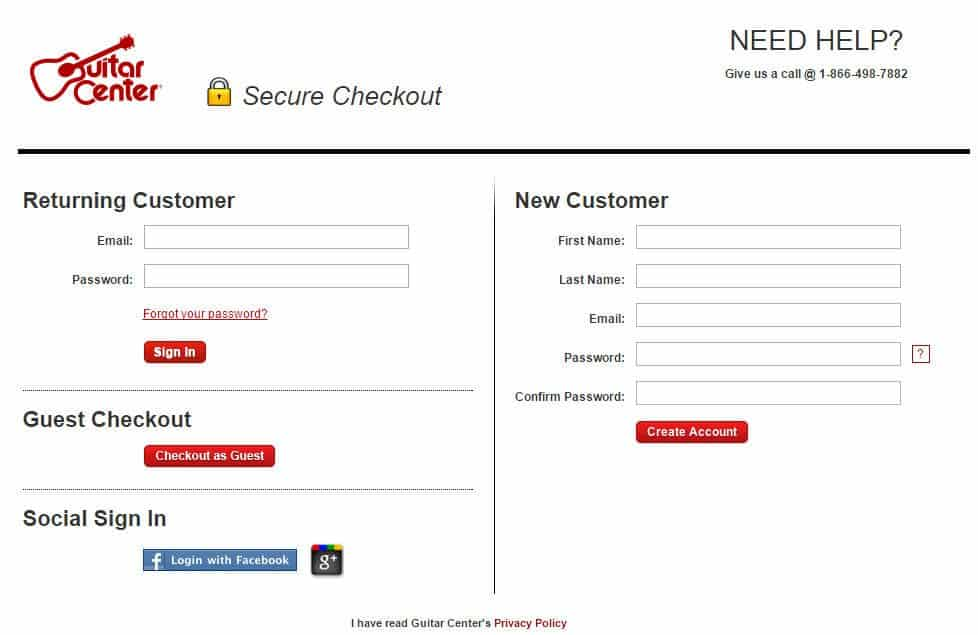 Guitar Center offers a guest checkout and a social sign-in.