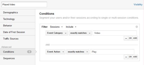 By creating an Advanced Segment in Google Analytics, we can look at sessions that include visitors who watched a video.