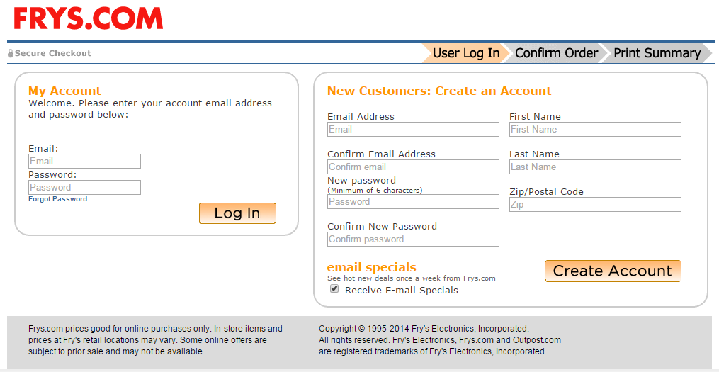 Frys.com requires visitors to confirm their email address and think up a password.