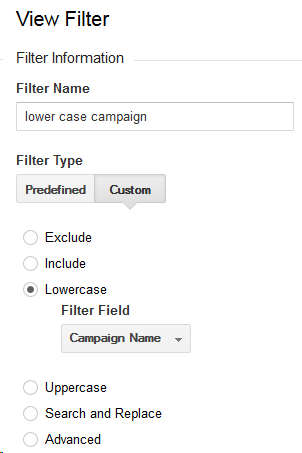 The Google Analytics filter to make the campaign name lowercase.