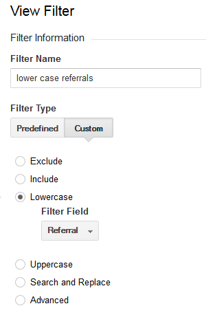 The Google Analytics filter to make the referral field lowercase.