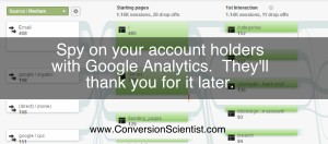 Use Google Analytics to analyze the behavior of account holders.