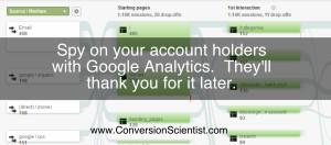 Use Google Analytics to analyze the behavior of account holders.