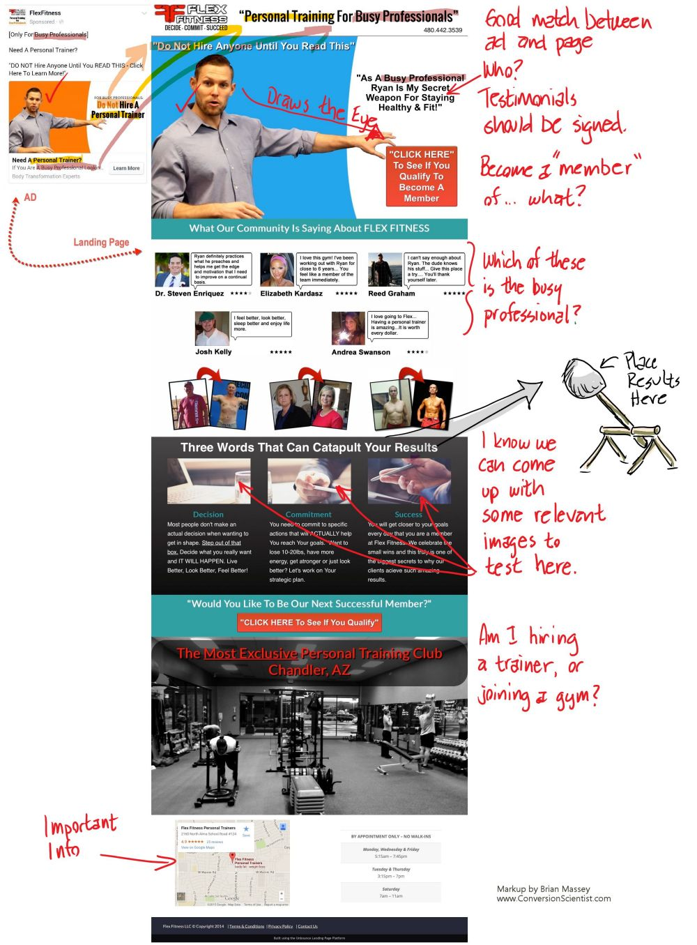 Notes from Brian Massey's review of Flex Fitness landing page.