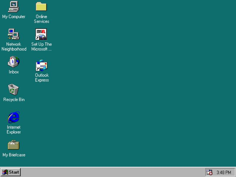 "Image of 1990's desktop: What the f*** was ""Network Neighborhood"" for?"