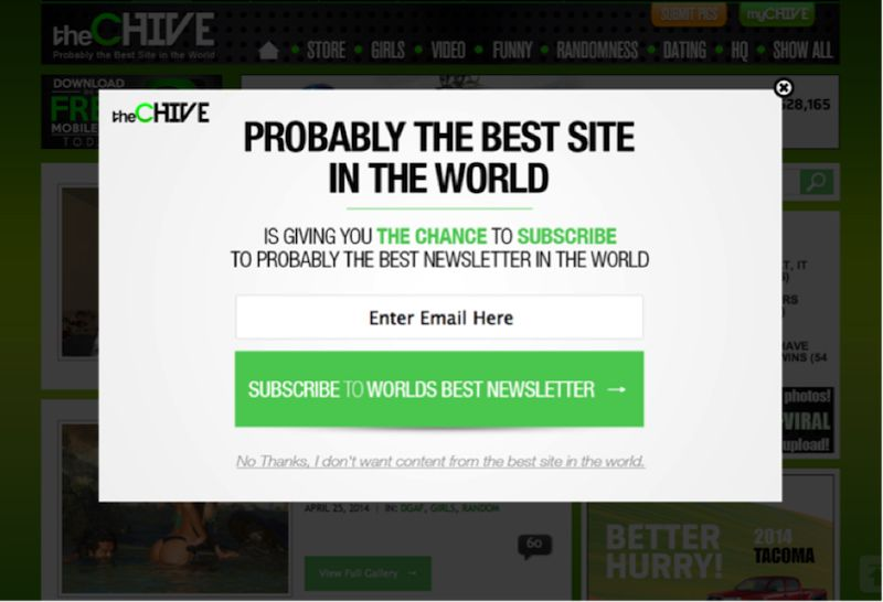 Image of The Chive exit-intent overlays