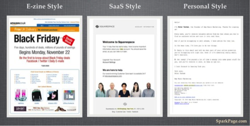 Stylized versus simple welcome email design.