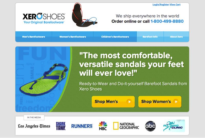 Xero Shoes website