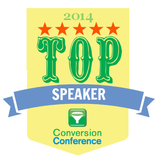 Conversion Conference Top Speaker 2014 badge joel harvey