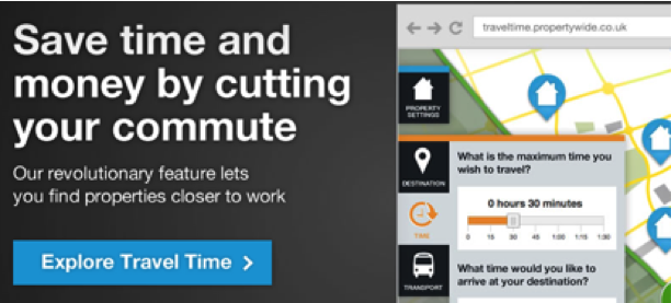 Coutrywide let's visitors shop for homes by commute time.