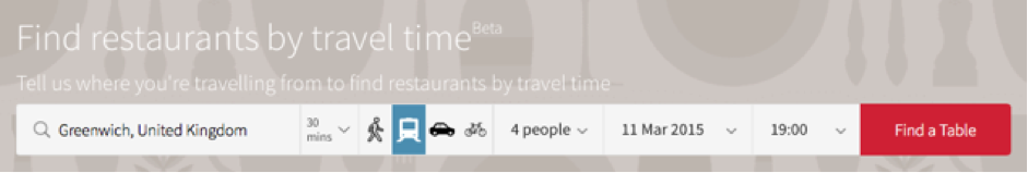 The distance to a restaurant changes by mode of transportation.