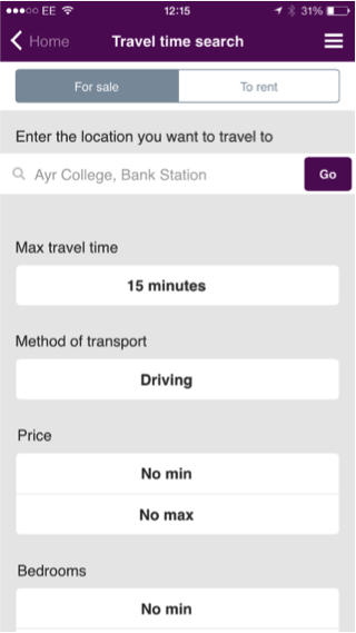 Travel time search results on mobile device