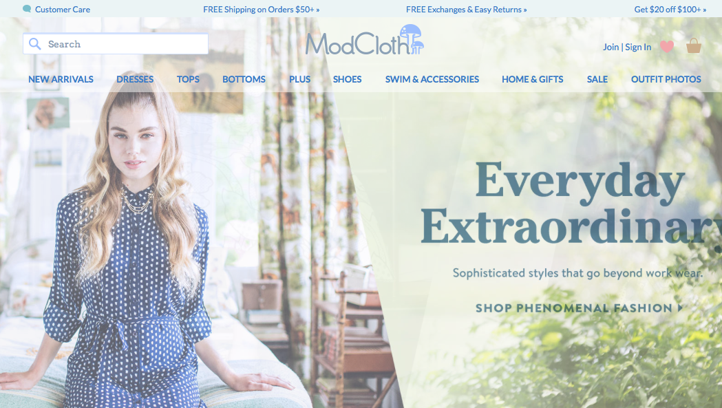 The top of ModCloth's website is covers lots of trust-building bases.