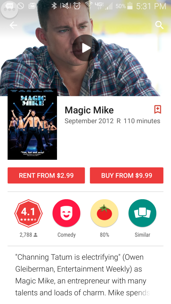 Magic Mike to rent
