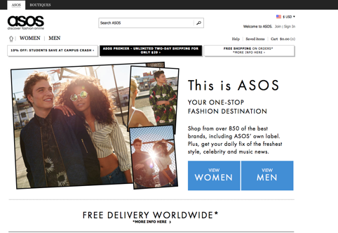 Shopping option CTAs on Asos