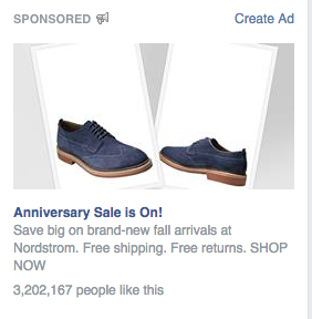 After leaving Nordstrom.com without purchasing an item, they decided to retarget me on Facebook.