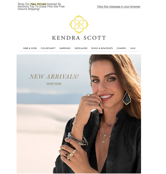 This is an email promo for Kendra Scott's new Mystic Bazaar collection.