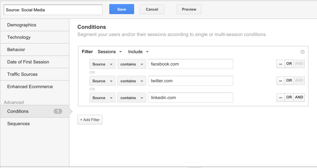 This is how we traditionally set up segments in Google Analytics to better analyze site conversions.