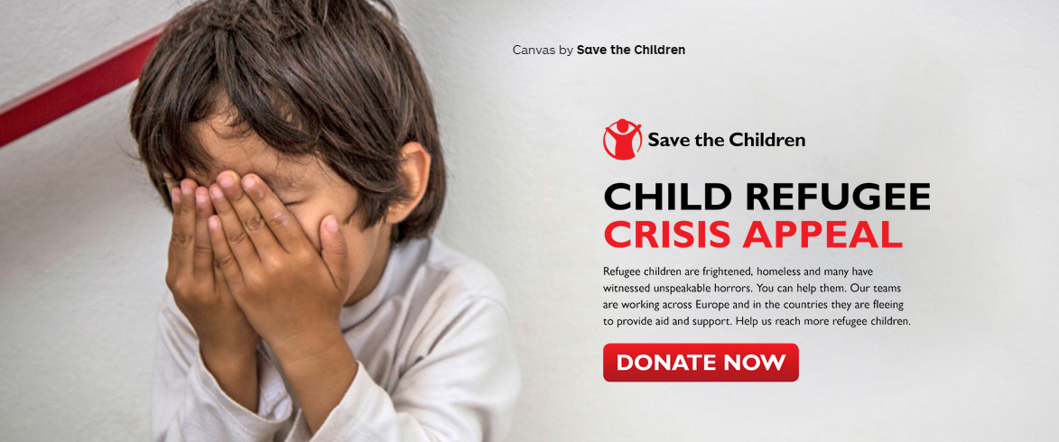 Save the Children's landing page and CTA promote a sense of urgency