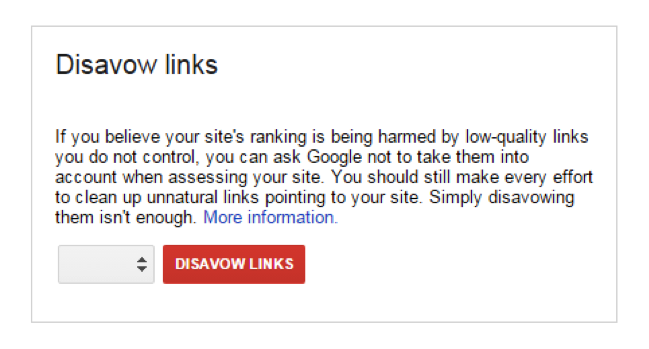 You have the option to disavow links