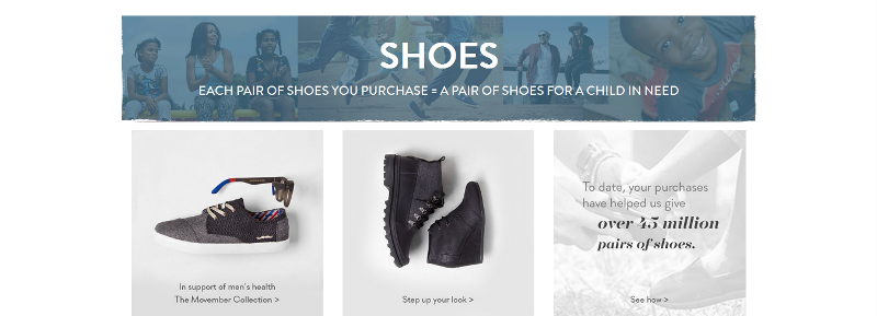 TOMS has boosted sales because it has made its giving very public.