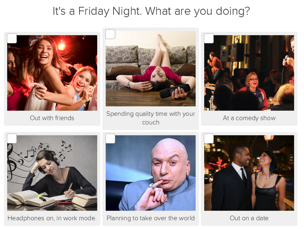 This quiz question is full of relatable images that are associated with different personalities