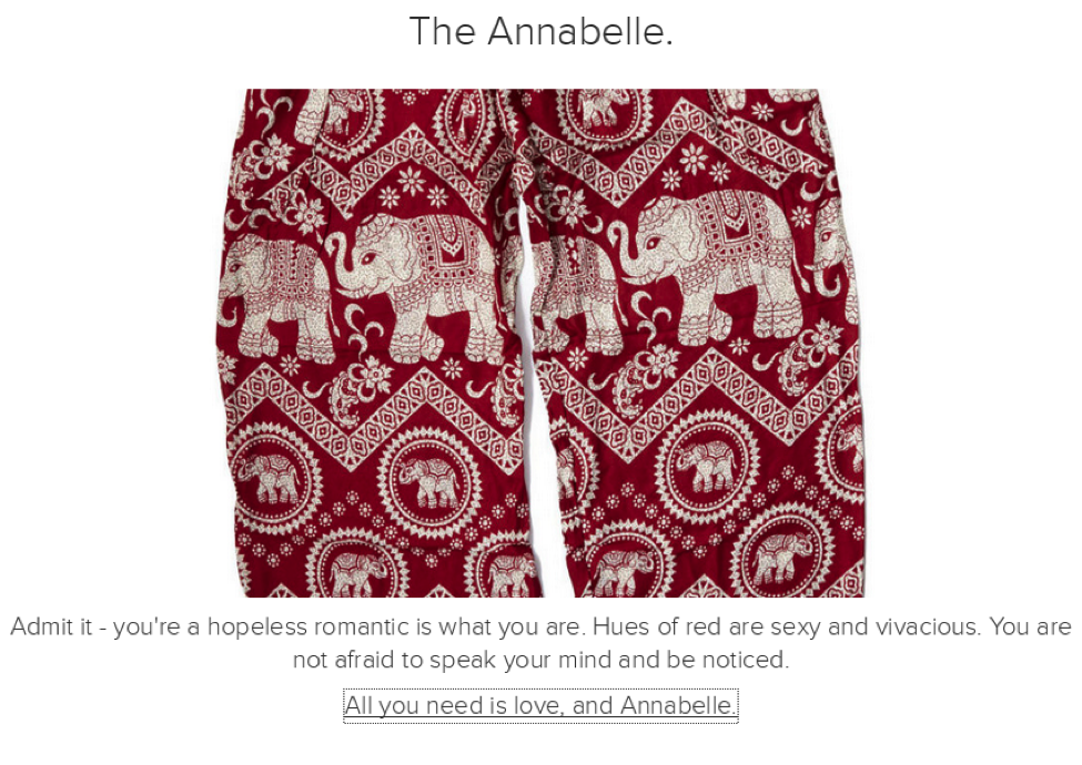 A flattering quiz result increases interest in buying this pair of pants and the likelihood of the result being shared