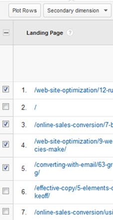"Checking the stories and clicking ""Plot Rows"" tells Google Analytics to export your data."