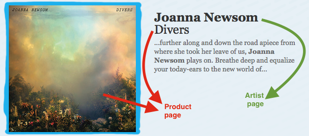I needed to find my way to the product page, but I kept ending up back on the artist page.