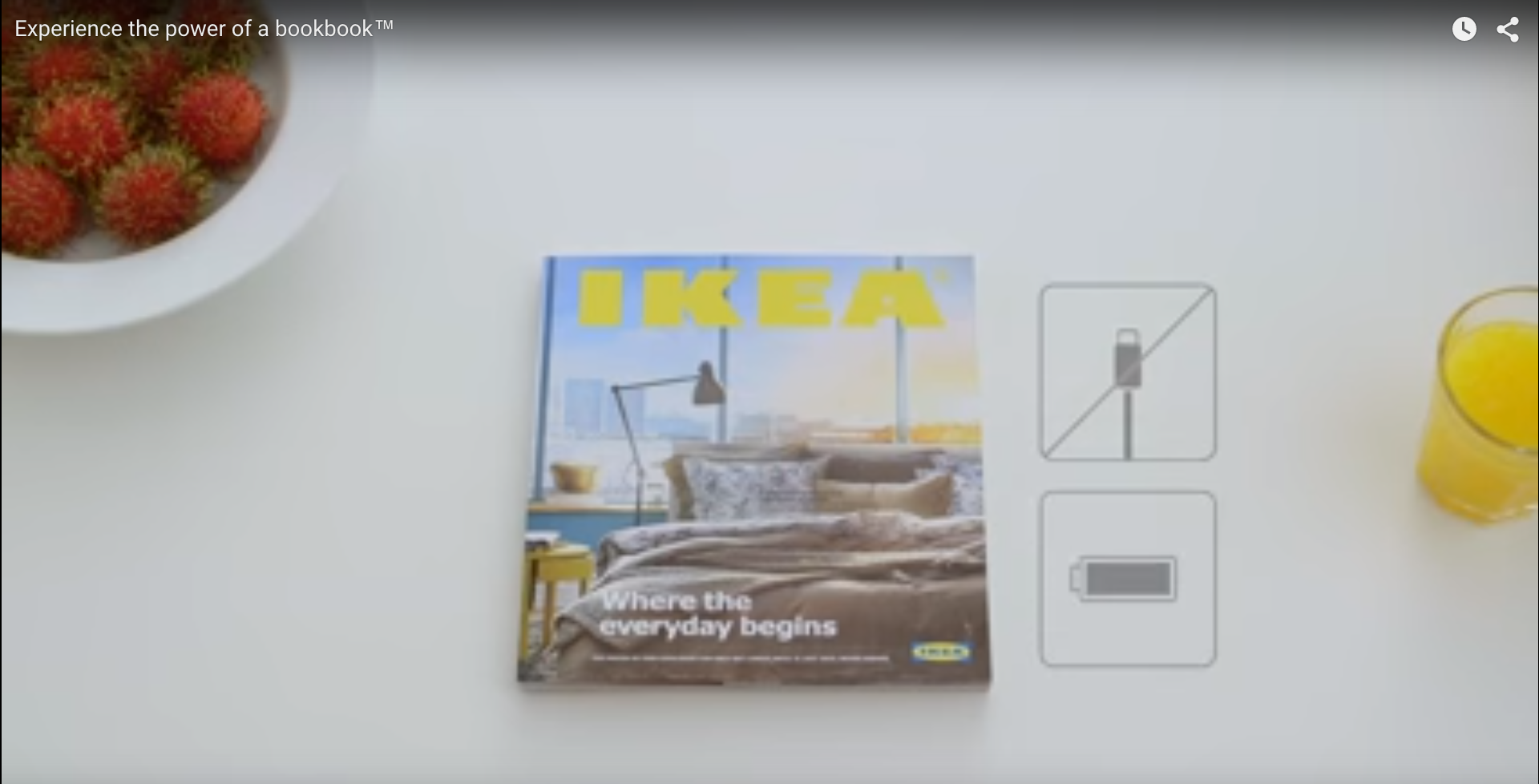 Its commercial video used an Apple-like asthetic to show the simple navigation of its paper catalog