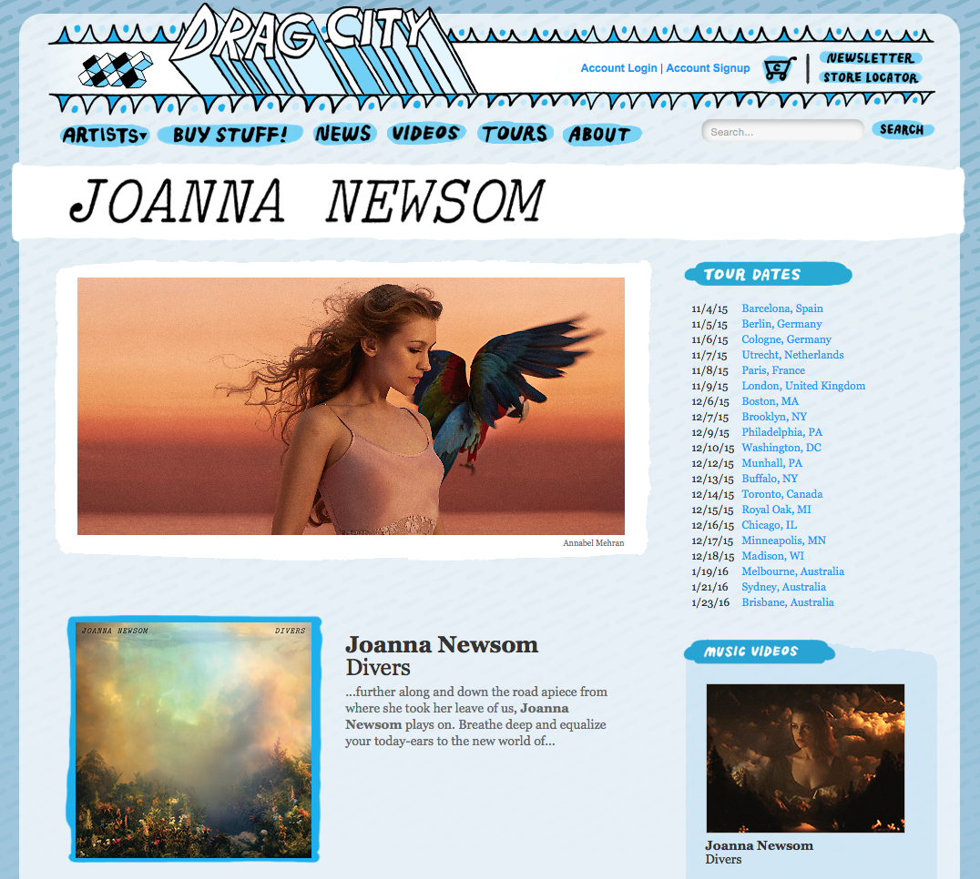 Joanna Newsom's artist page was my first touchpoint with Drag City