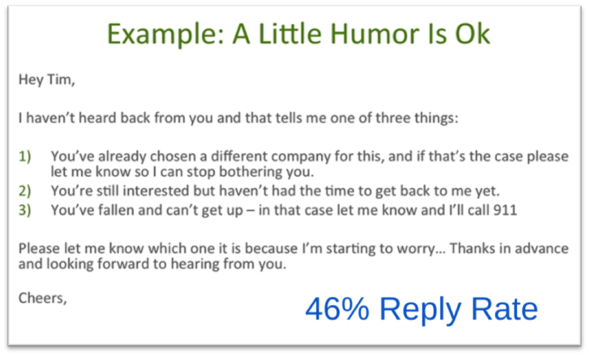 This humorous email had a 46 percent response rate