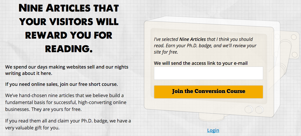 Conversion Sciences offers a free short course in exchange for your email address