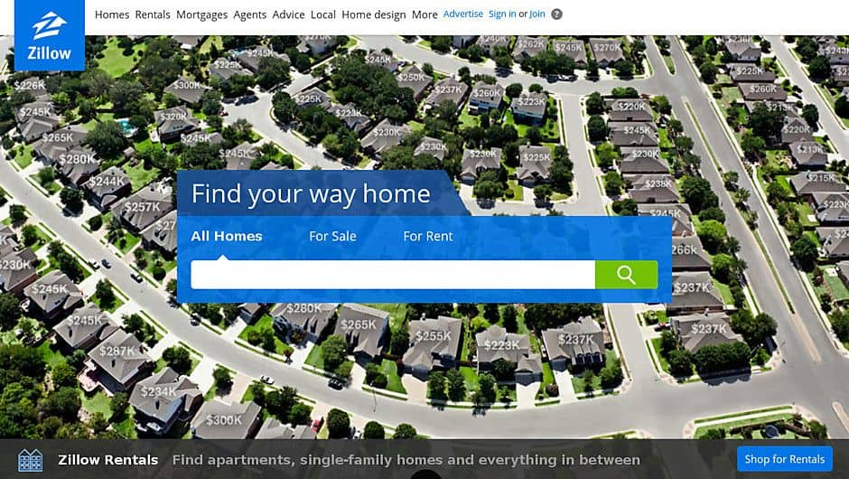 Zillows background showing homes with their prices.