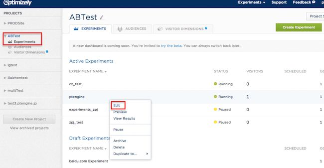 AB testing software Optimizely dashboard with AB Test Experiments highlighted and Edit highlighted.