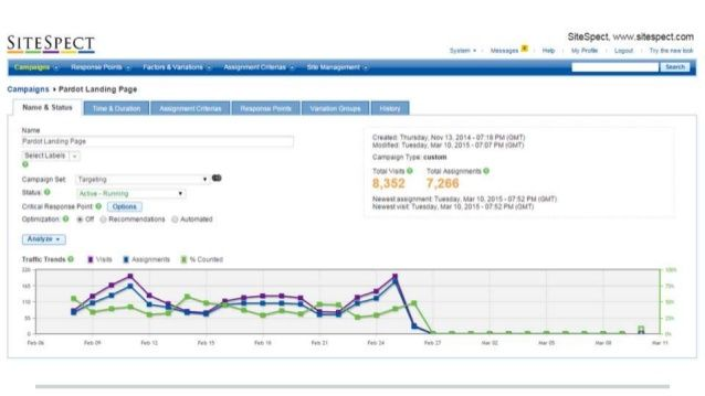 AB Testing software SiteSpect Report Screen Capture