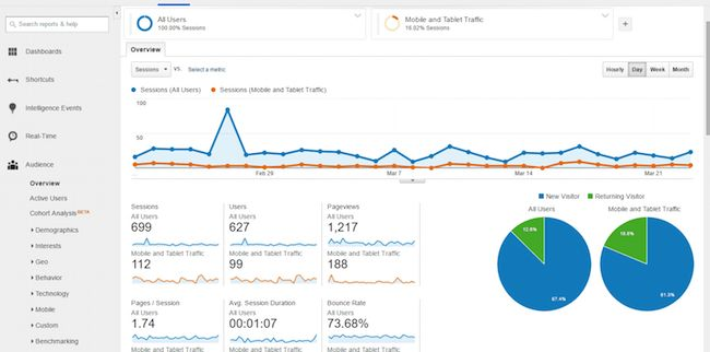 Analytics platform Google Analytics Screen Capture