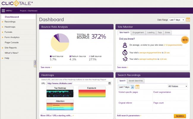 Heatmapping and session recording tool ClickTale dashboard screen capture