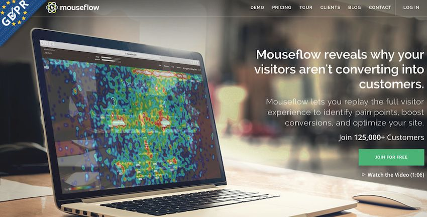 Mouseflow user behavior analytics tool.